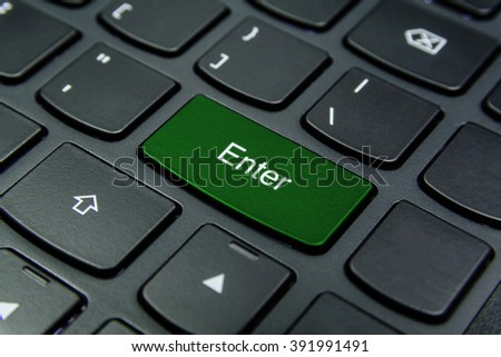 Close-up the Enter button and have Green color isolate black keyboard