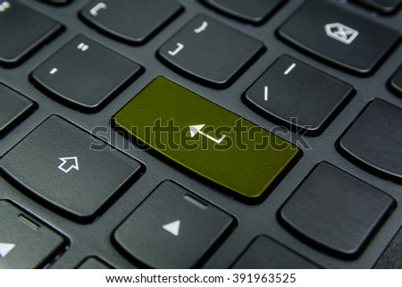 Close-up the Enter symbol and have Olive color button isolate black keyboard