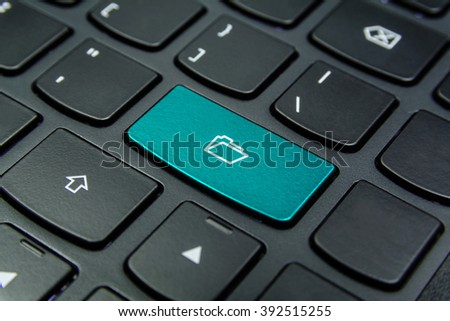 Close-up the Folder symbol on the keyboard button and have Cyan color button isolate black keyboard