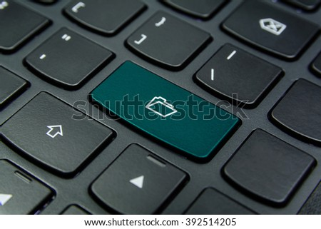 Close-up the Folder symbol on the keyboard button and have Teal color button isolate black keyboard