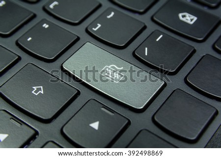 Close-up the Keyboard symbol on the keyboard button and have Ivory color button isolate black keyboard - stock photo
