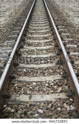 close up the length of railway, filtered image ,selective focus - stock photo