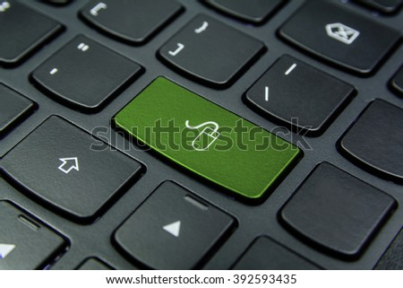 Close-up the Mouse symbol on the keyboard button and have Pea color button isolate black keyboard