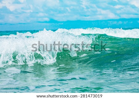 close up the sea water surface - stock photo