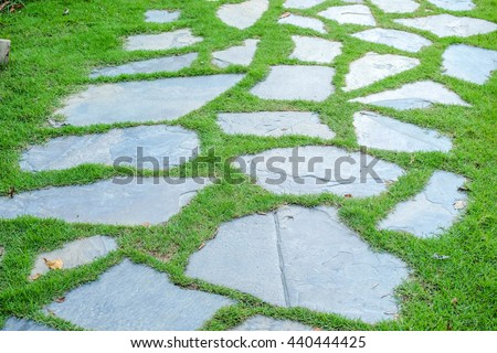 Close up the stone pathway and green grass.