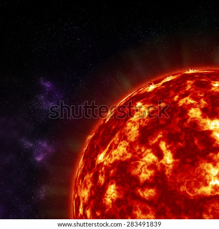 close up the sun in space - stock photo