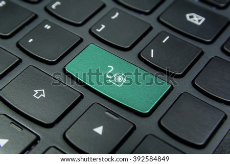 Close-up the Webcam symbol on the keyboard button and have Aquamarine color button isolate black keyboard