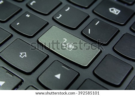 Close-up the Webcam symbol on the keyboard button and have Beige color button isolate black keyboard