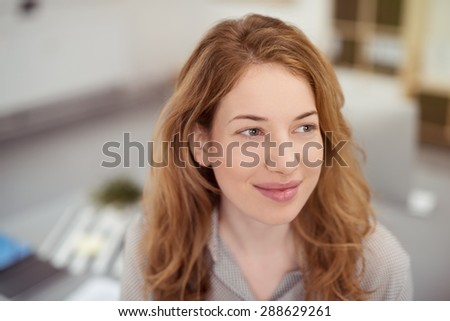 Close up Thoughtful Pretty Teen Girl with Long Blond Hair, Looking Into Distance with a Happy Facial Expression. - stock photo