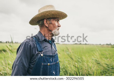 Close up Thoughtful Senior Male Farmer with Straw Hat Looking Into the Distance at the Farm. - stock photo