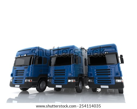 Close-up Three Commercial Large trucks on a white background - stock photo