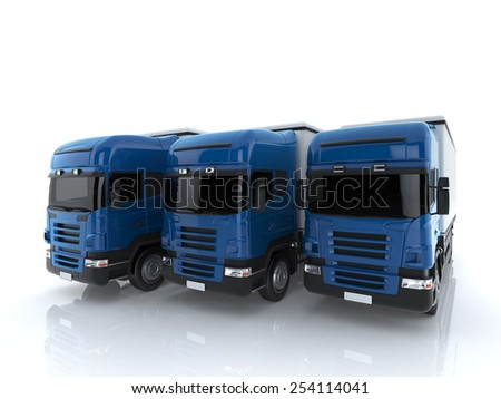 Close-up Three Commercial Large trucks on a white background