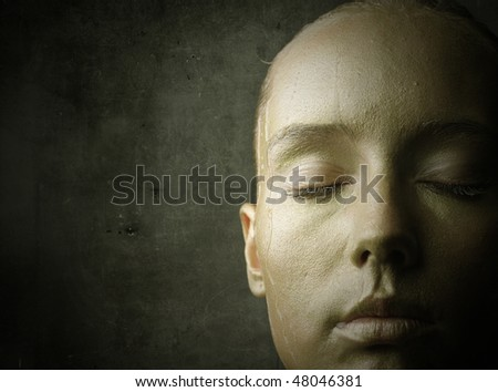 Close-up to a beautiful woman's visage - stock photo