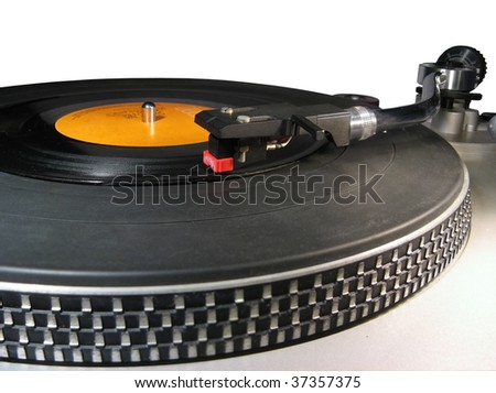 Close up to a turntable or record player - stock photo