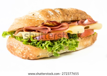 Close up to ciabatta sandwich with ham and cheese on white background,selective focus  - stock photo
