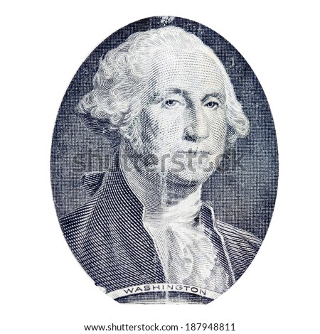 Close up to George Washington portrait on one dollar bill