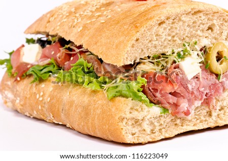 Close up to tasty sandwich. Selective focus on the front side - stock photo