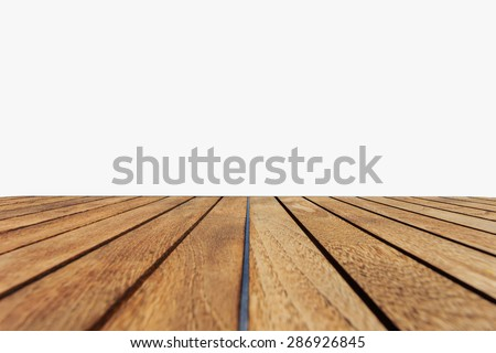 Close up top of teak wood table isolated on white background - stock photo