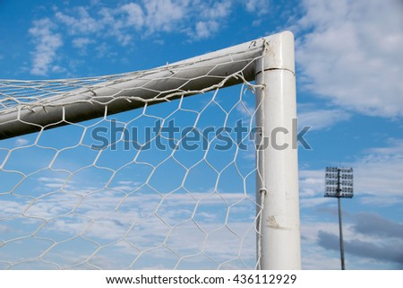 Close up Top triangle goal football and net - stock photo