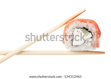 Close up top view of sushi isolated over white background - stock photo