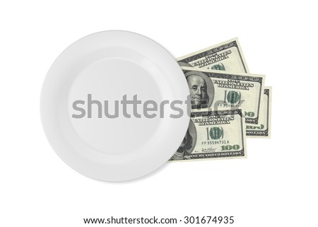 Close up top view of white porcelain flat plate on one hundred dollar banknotes, isolated on white background. - stock photo