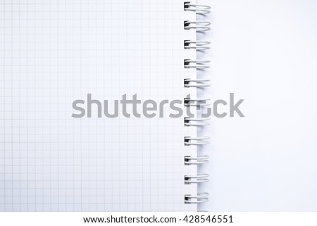 Close up top view of white  ring binder notebook