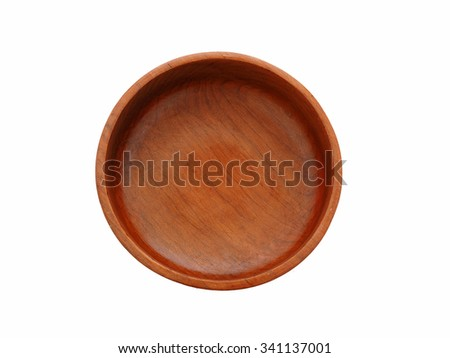 Close up top view of wood empty bowl (wooden bowl), isolated on white background - stock photo