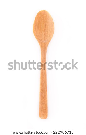 Close-up top view of wooden spoon isolated on white background. - stock photo
