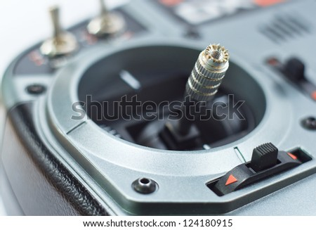close up toy transmitter stick and switches - stock photo