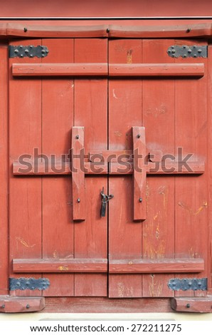 Close up traditional Chinese style wooden door  - stock photo