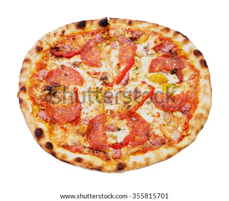 Close up traditional fire oven pizza isolated on white