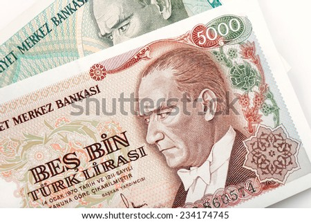Close-up Turkish five thousand liras banknote, old turkish lira around 1980's - stock photo