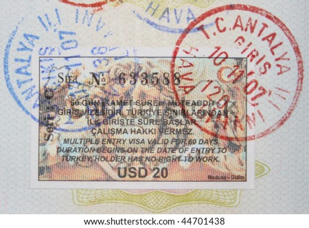 Close-up turkish 2007/2008 years visa and customs stamps - stock photo