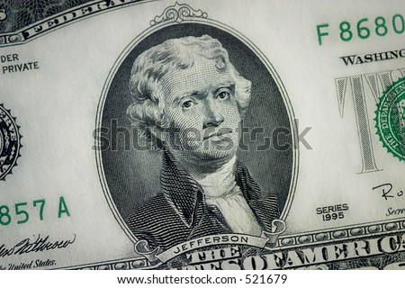 Close Up - Two Dollar Bill - stock photo