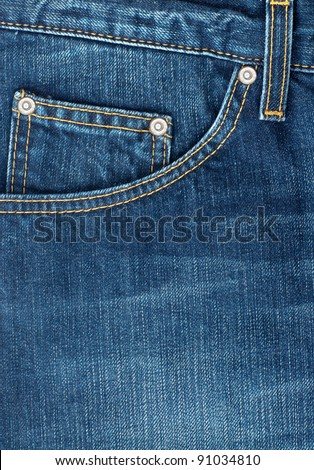 close up up of fancy washed  blue jeans  pocket