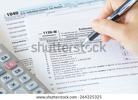 Close - up US income tax form - stock photo