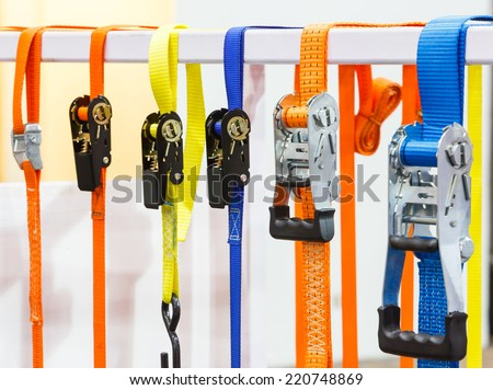 Close up varieties size and type of ratchet tie down or lashing - stock photo