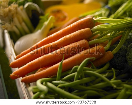 Close up Vegetable Stall - stock photo