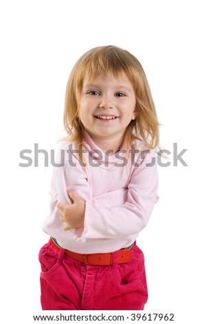Close-up vertical portrait of a cute little girl - stock photo