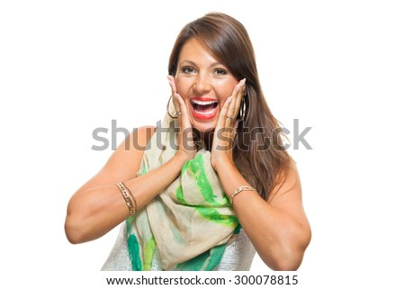 Close up Very Happy Young Woman, Wearing Trendy White Shirt with Scarf Outfit, Touching her Face with her Two Hands While Looking at the Camera. Isolated on White. - stock photo