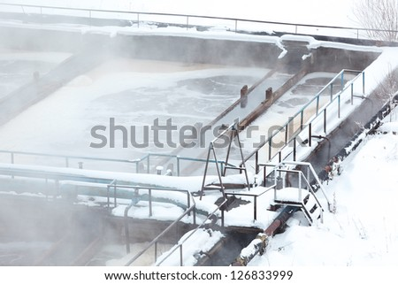 Close up view aeration tank in sewage treatment plant - stock photo