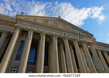 Close-up view at National Archives Building in Washington D.C., USA. It is usually called Archives I and was built in 1935. It is a headquarters of the National Archives and Records Administration.