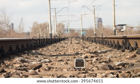 Close up view at the railway - stock photo