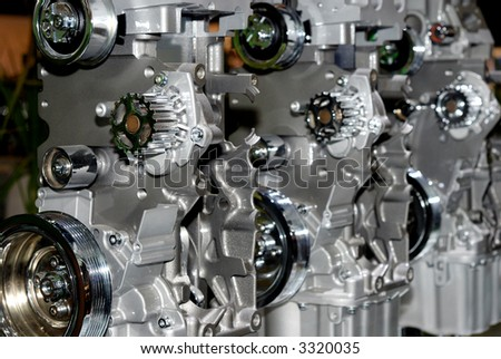 Close-up view, details of petrol engine, shiny and new
