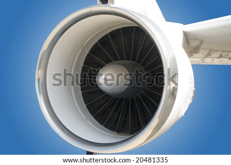 Close-up view of a aircraft jet turbine engine.