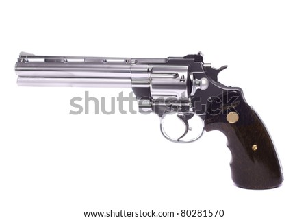 Close up view of a airsoft gun isolated on a white background. - stock photo