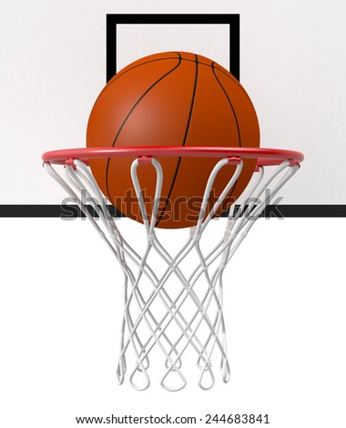 close-up view of a basketball hoop and a ball falling through the hoop (3d render) - stock photo