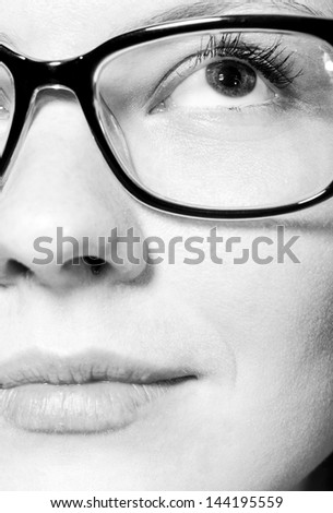 close up view of a beautiful female face - stock photo