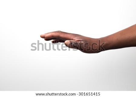 Close up view of a black / african mans hand from the side - stock photo