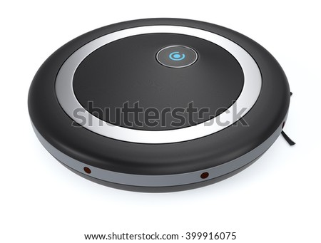 close up view of a black vacuum cleaner robot (3d render)